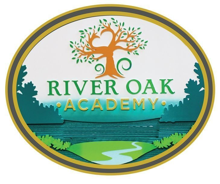 Y34714 - Carved 2.5-D HDU Plaque of the Seal of River Oak Academy