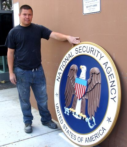 IP-1480-  Carved Plaque of the Seal of the National Security Agency (NSA), Artist Painted