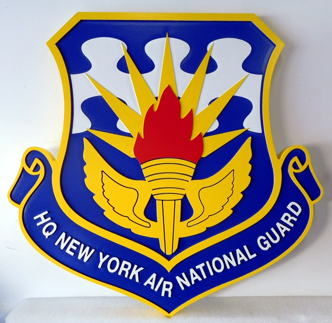 LP-1810 - Carved Shield Plaque of the Crest of the HQ of the New York Air National Guard, Artist Painted