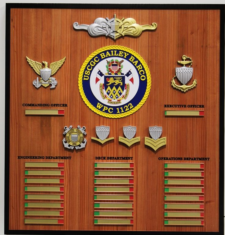 NP-2480 - Carved Redwood  Ship's Command Board for USCGC Bailey Barco, WPC 1122, 3-D Insignia with Nameplates