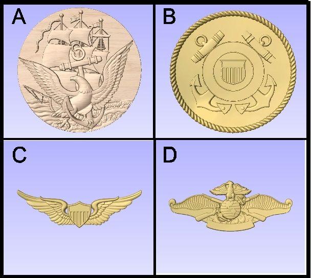 U30904 - Carved Military Emblems and Insignia