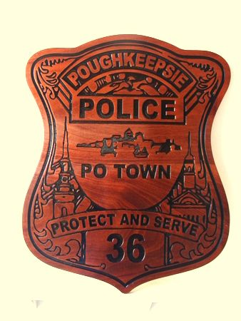 X33646 - Engraved Cedar Wall Plaque of the Badge of  the  Poughkeepsie Police
