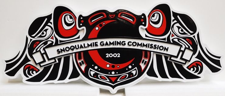 VP-1444 - Carved Plaque of the Logo of  the Snoqualmie Gaming Commission, 2.5-D Artist Painted