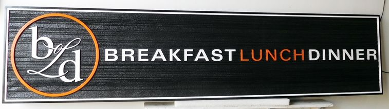 Q25056 - Carved Sign for Restaurant Serving Breakfast, Lunch and Dinner. (For Similar Restaurant Sign See Item Number Q25053 Above.)
