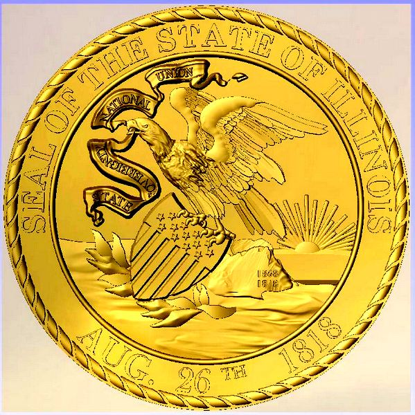 W32182 - Great Seal of Illinois, Carved HDU with 24K Gold-leaf Gilding (Front View))