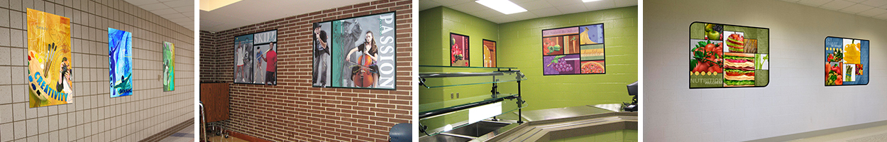 4 pictures of wall art murals in schools, custom signs, food art,