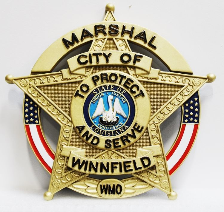 PP-1605 - Carved 3-D HDU Plaque Star Badge of the Marshall of the City of Winnfield, Louisiana