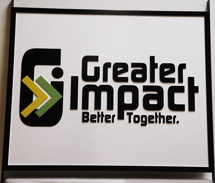 """S28128 - Carved HDU Sign for """"Greater Impact""""  , 2.5-D Multi-level  Relief with Artist-Painted Logo Artwork"""