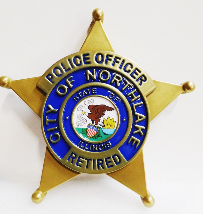 PP-1755 - - Carved Plaque of the Star Badge of the Police Department of the City of Northlake, Illinois, 2.5-D Artist-Painted