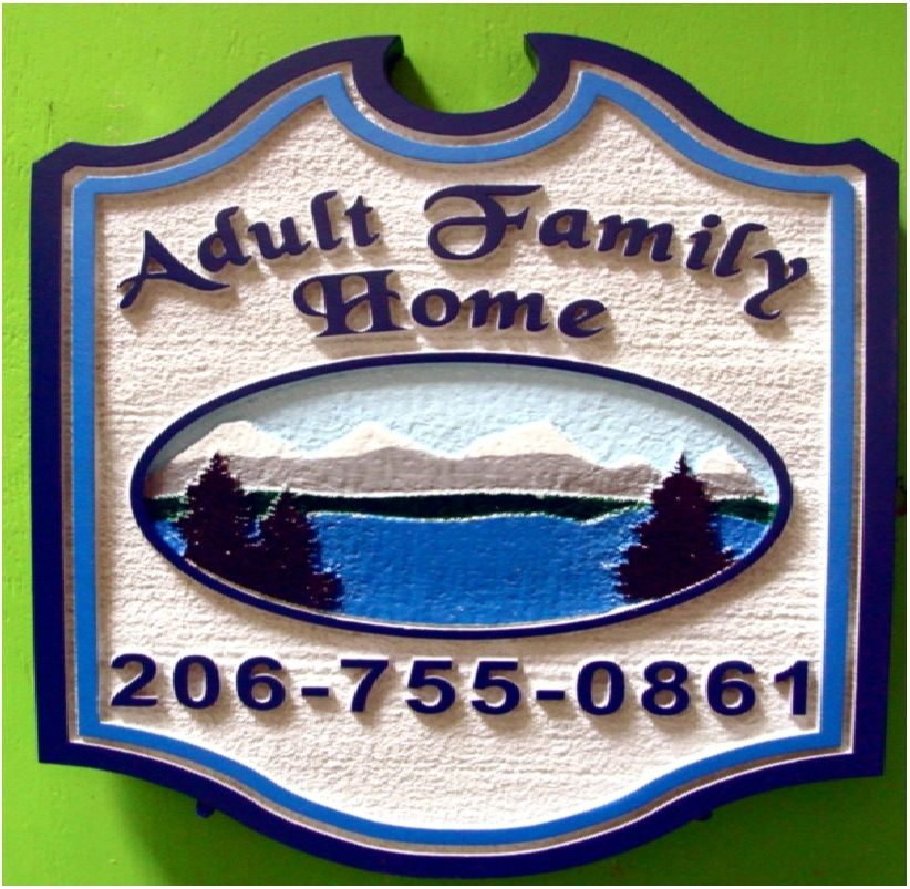 M22317 - Sandblasted 2.5-D HDU  Sign for Adult family Home with Lake and Mountains as Artwork
