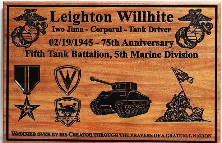 KP-3035 - Engraved CedarMemorial Plaque for Leighton Wilhite , Tank Driver at Iwo Jima in WW II, US Marine Corps