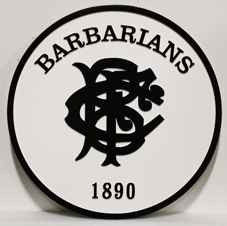 WP-1070 - Carved 2.5-D Raised Relief HDU Plaque of the Logo for the UK Barbarians Rugby Team