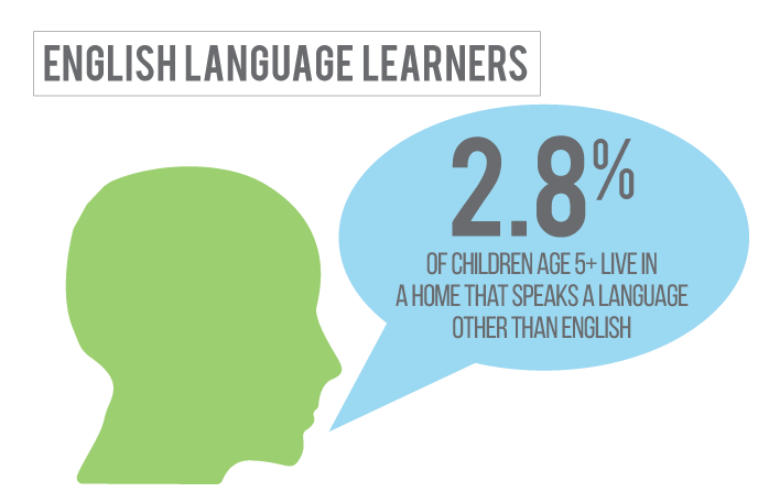 2 percent of children in Custer County Nebraska live in a home where a language other than English is spoken.