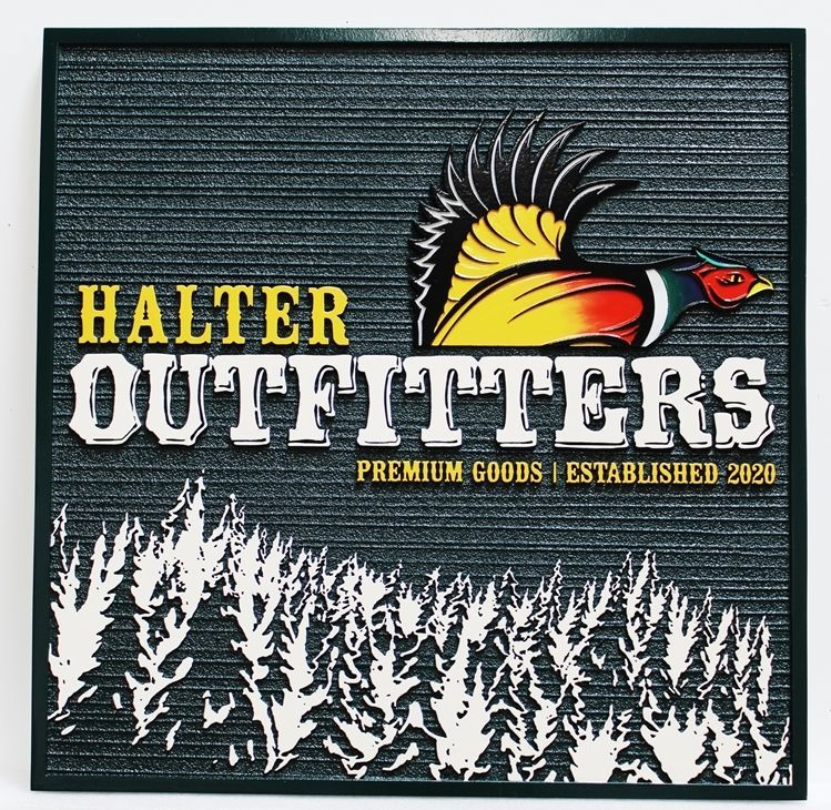SB28171 - Carved 2.5 D and Sandblasted Wood Grain HDU Sign for Halter Outfitters Retail Store