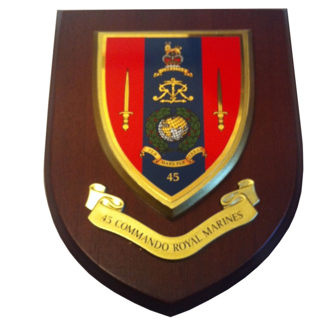 OP-1220- Carved Shield Plaque,45 Commando Royal Marines, Artist Painted Wood with Gold Gilding