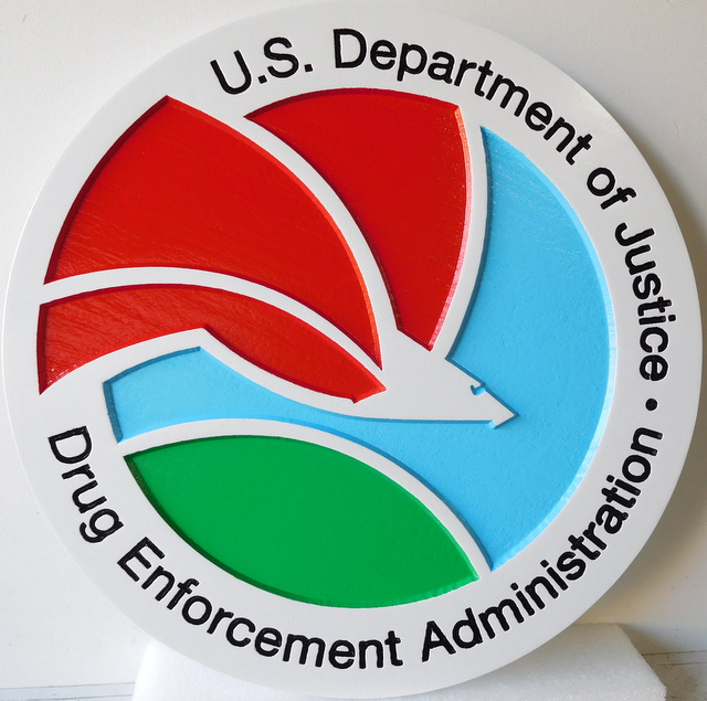 AP-2520 - Carved Plaque of the Seal of the Dept. of Justice, Drug Enforcement Administration (DEA), Artist Painted