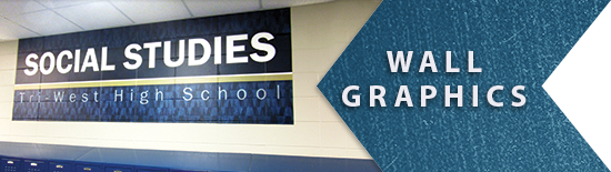 Wall Graphics example link, academic hallway graphic, school graphics, custom signs, signage company