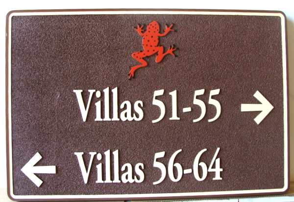 KA20855 - Sandblasted HDU Wayfinding Sign for Villa Unit Numbers