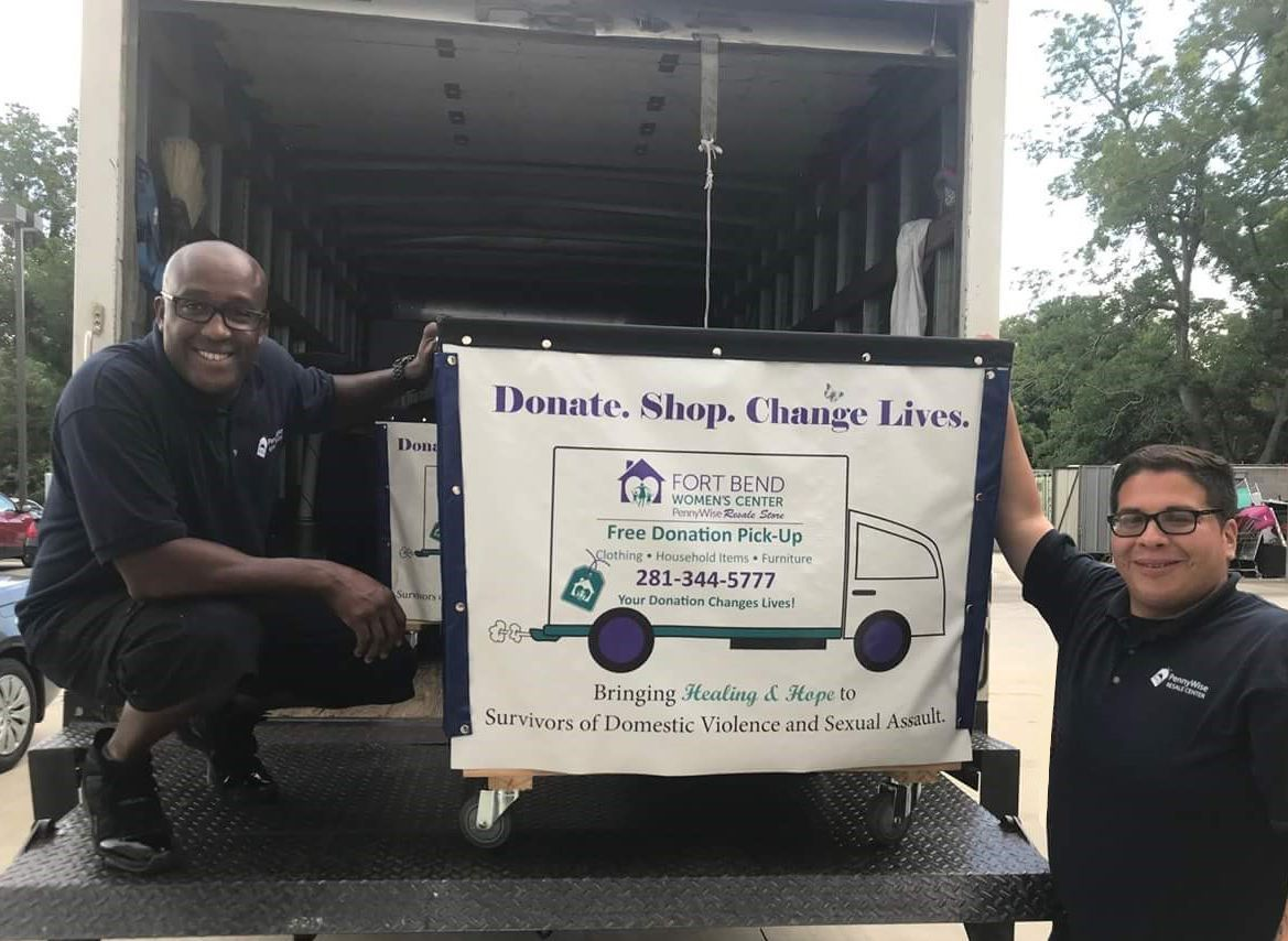 Back of truck with banner