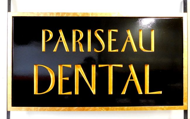 "BA11517 - Engraved ""Pariseau""  Dental Office Sign with 24K Gold Leaf Gilded Text and Border"