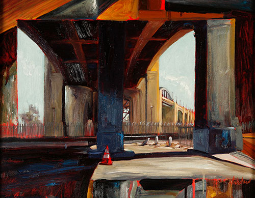Under the Sixth Street Bridge, oil on canvas