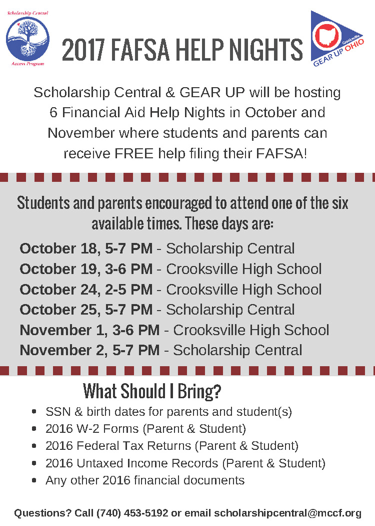 Scholarship Central and GEAR UP FAFSA Help Nights