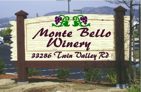 R27065 - Large Sandblasted Wood Entrance Winery Sign