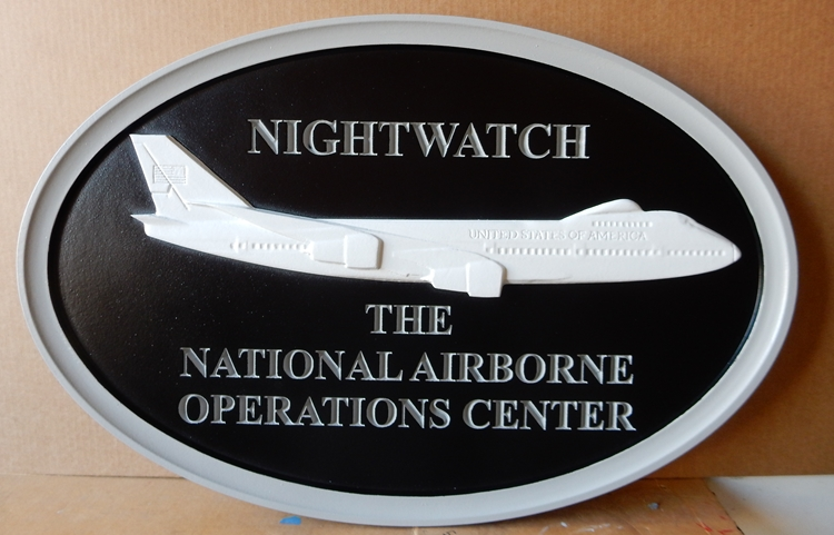 "V31164 - Carved Wall Plaque for the National Airborne Operations Center, with Aircraft ""Nightwatch"""