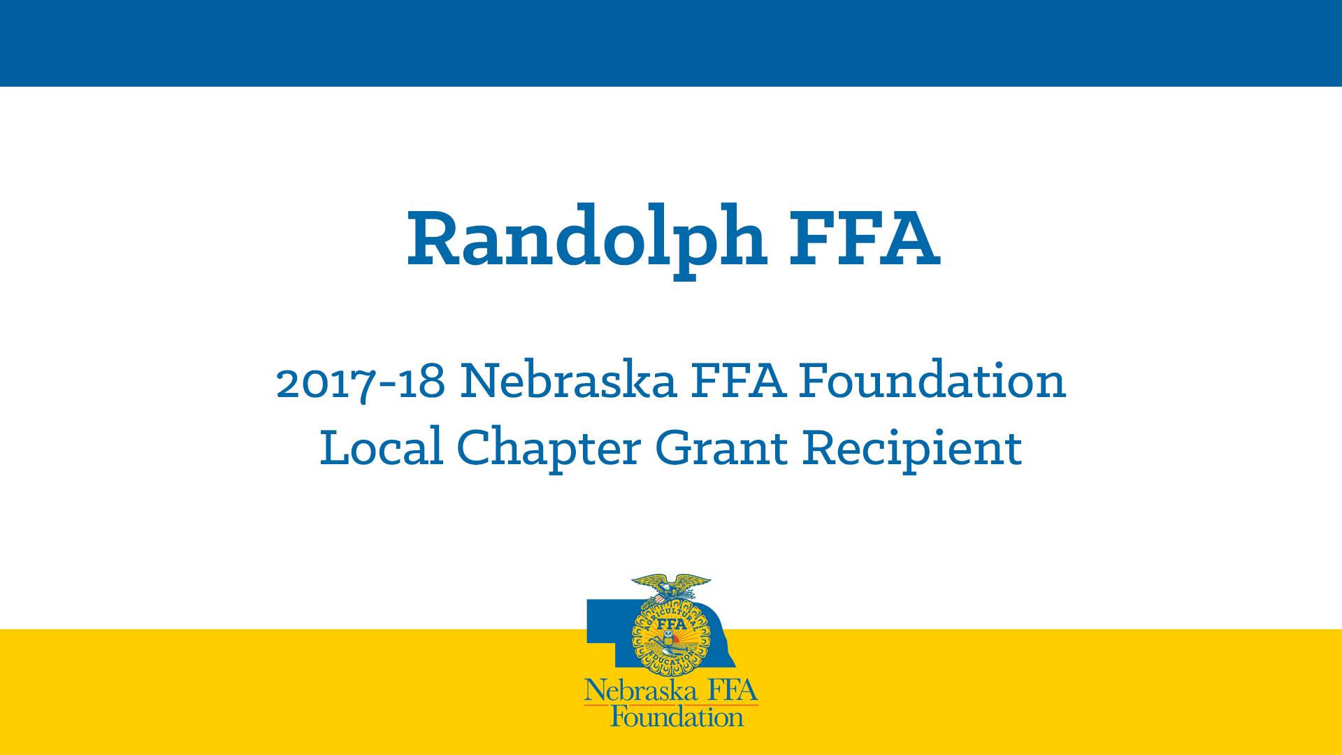 2017 Local Chapter Grant Recipient: Randolph