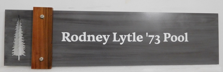 GB16127 - Carved Engraved Stained Cedar Wood Sign for the Rodney Lytle '73 Pool