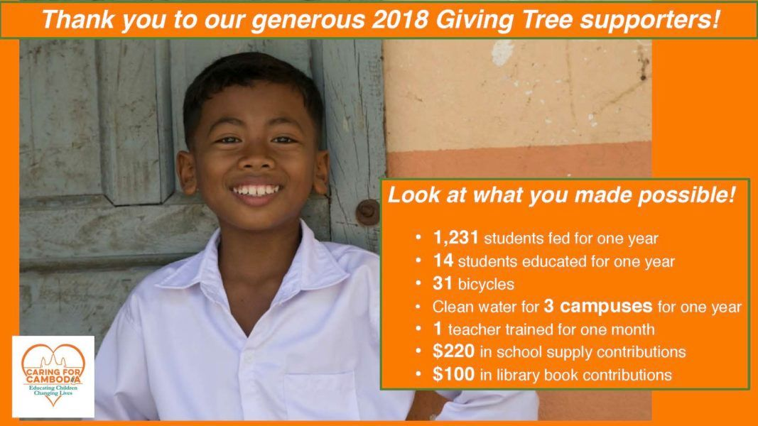 Thank you to our 2018 Giving Tree Supporters!