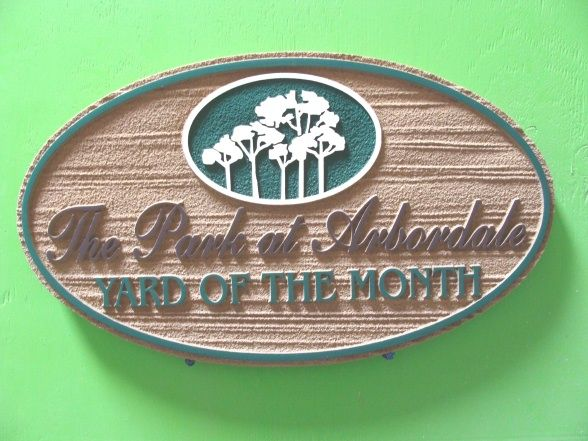 "KA20925 -  Sandblasted Yard-of-the-Month Sign for ""The Park at Arbordale""  Home Owners'  Association with a Grove of Trees as  Artwork"