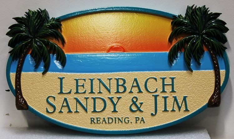 L21220 -  Carved and Sandblasted 2.5-D Multi-level Relief  HDU Beach House Name Sign, with Sunset, Beach and Palm Trees as Artwork