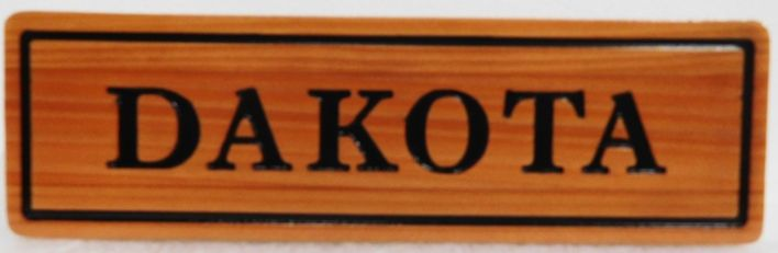 """P25418 - Engraved and Stained  Cedar Horse Stall Sign for """"Dakota"""""""