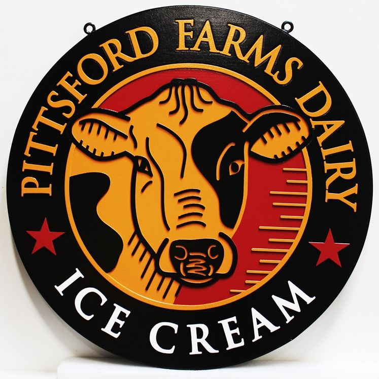 "Q25832 - Carved 2.5D Raised Outline Relief HDU Sign for the  ""Pittsford Farms Dairy Ice Cream"" , with the Face of a Dairy Cow as Artwork"