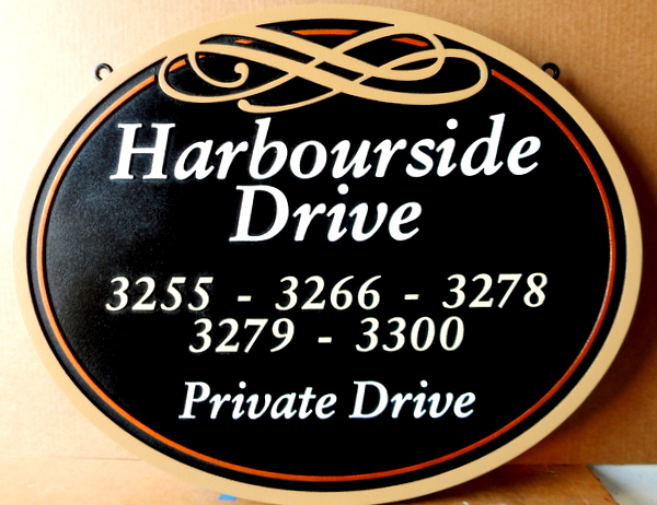 L22115 – Carved 2.5-D HDU Harbourside Drive (Private Drive) Sign, with Address Numbers