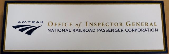 U30516 - Engraved HDU Wall or Door  Office  Plaque  for the Inspector General of AMTRAK