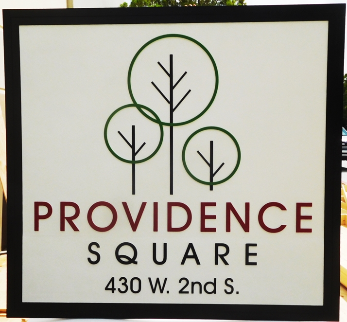"S28099 - Large Carved HDU Commercial Sign  for ""Providence Square"" , 2.5-D Artist-Painted"