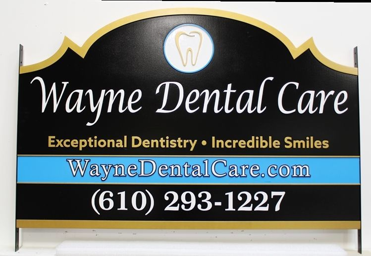 "BA11635  - Carve 2,5-D Raised Relief HDU Entrance Office Sign for ""Wayne Dental Care"""