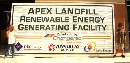 M5174 - Large (16 ft wide) Sandblasted HDU Sign, for a Renewable Energy Facility.
