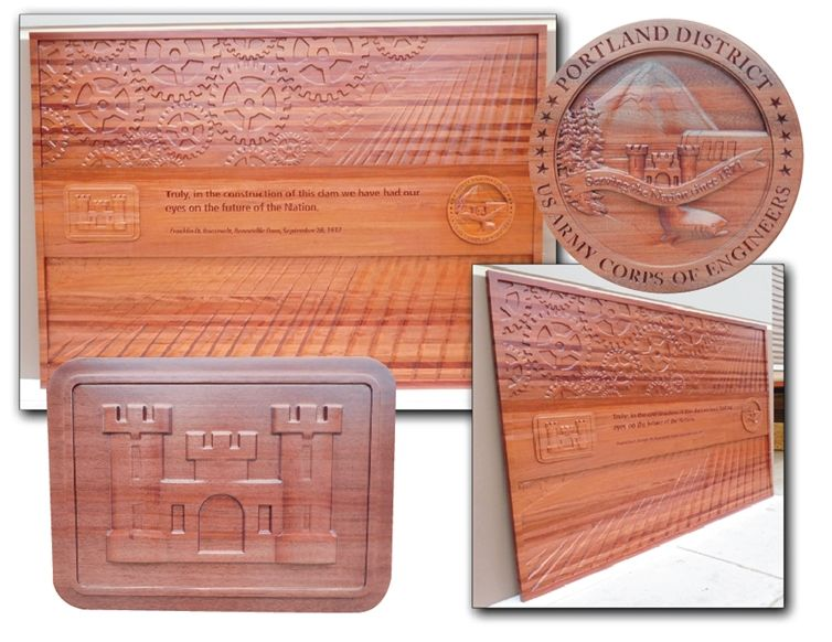 V31814A - Carved 3-D Natural African Mahogany  Wall Panel for the Portland District of the  US Army Corps of Engineers