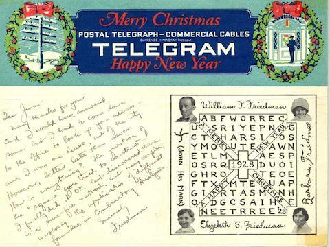 1928: Friedman's Coded Holiday Gram