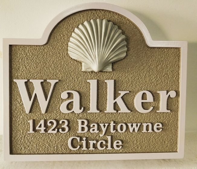"""L21533 - Carved and Sandblasted 3-D HDU Property Name and Address Sign for the """"Walker"""" Family features a Carved 3-D  Clam Shell as Artwork"""