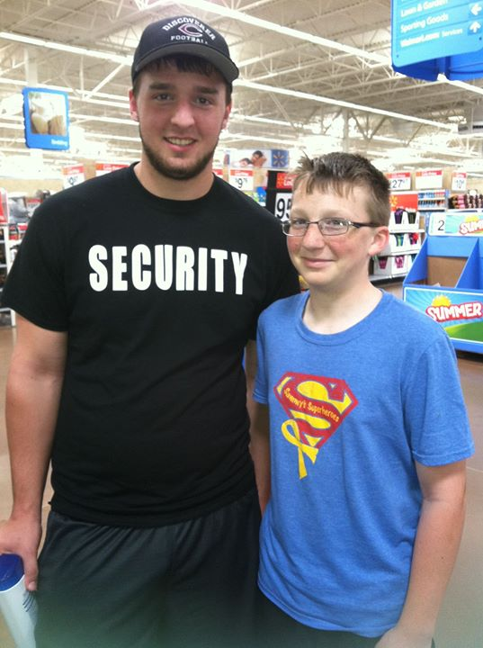 Ran into this Superhero, Colby, at Wal-Mart! Thanks for your support buddy!