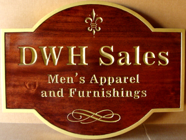 SA28011 -  Carved, Engraved Mahogany Wood Sign for DWH Men's Clothing Storem with 24K Gold-Leaf Gilding