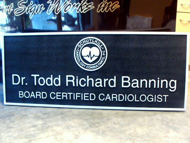 B11029 - Carved HDU Sign with Emblem (Logo) of Board Certified Cardiologist