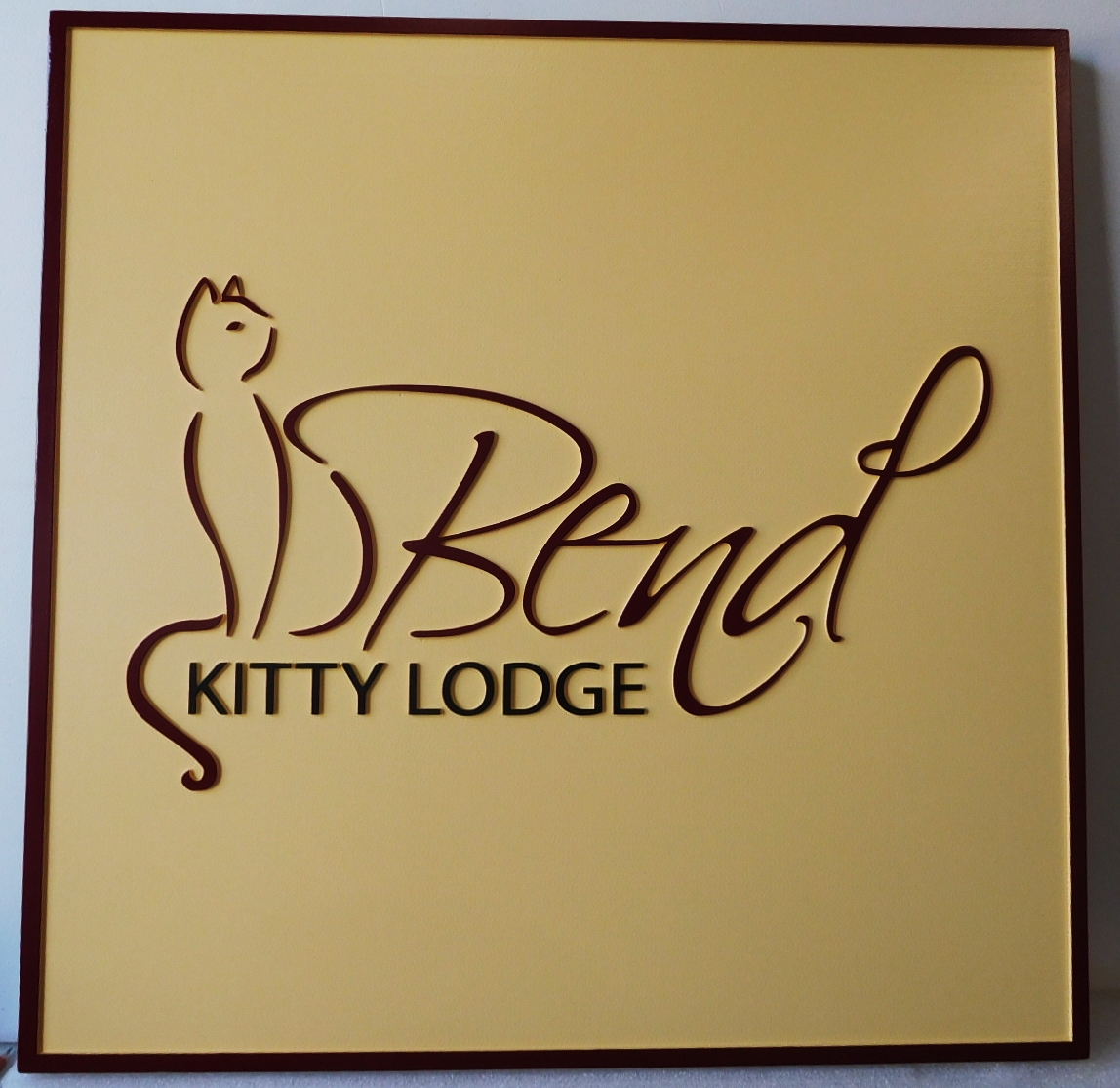 "T29156 - Carved Sign  for the ""Kitty Lodge"", 2.5-D Artist-Painted with Elegant Kitty Logo as Artwork"