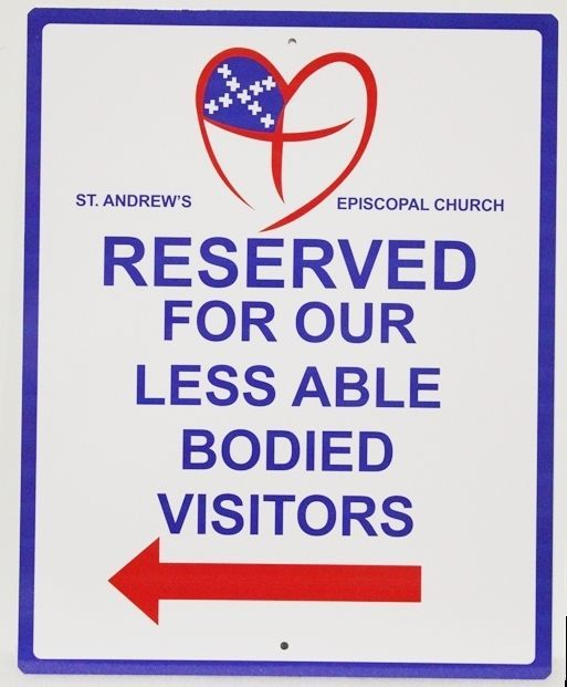 "D13170 -  Carved Raised Relief HDU ""Reserved"" Parking Sign for the St. Andrew's Episcopal Church"