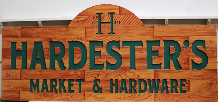 S28165 -  Engraved  High-Density-Urethane (HDU) Sign for Hardester's Market & Hardware, Painted in a Faux Wood Pattern