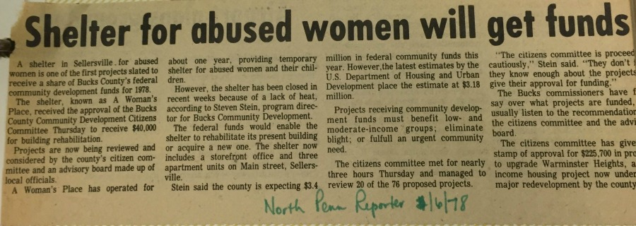 Funding for AWP's first shelter is provided by Bucks county.